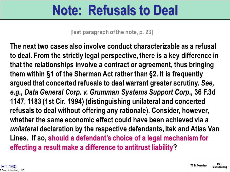 Note: Refusals to Deal [last paragraph of the note, p. 23]